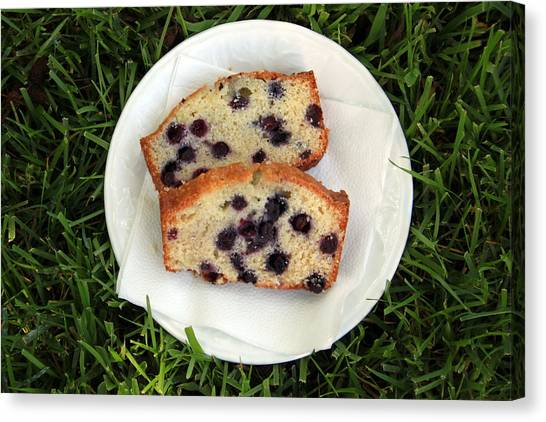 Blueberries Canvas Print - Blueberry Bread by Linda Woods