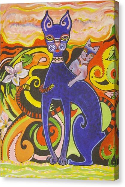 Blueberry Cat Canvas Print by Elizabeth Bonanza