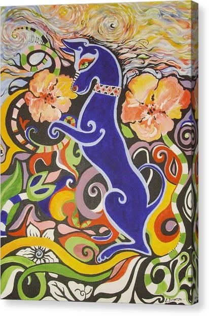 Blueberry Dog Canvas Print by Elizabeth Bonanza