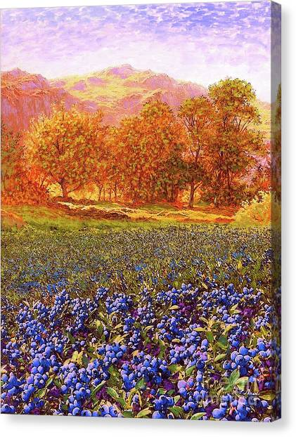 Bush Canvas Print - Blueberry Fields Season Of Blueberries by Jane Small