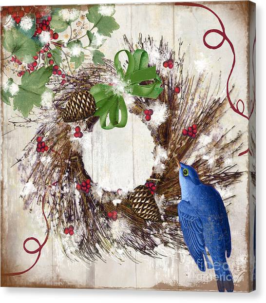 Amaryllis Canvas Print - Bluebird Christmas II by Mindy Sommers