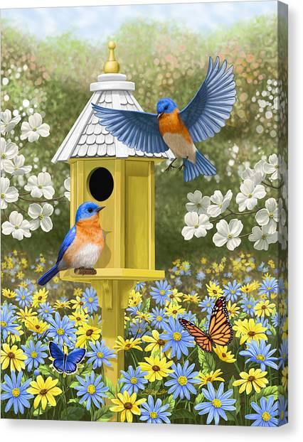 Bluebirds Canvas Print - Bluebird Garden Home by Crista Forest
