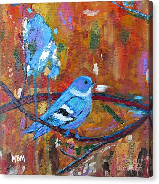 Bluebird In Autumn Canvas Print