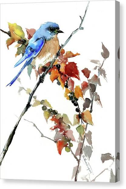 Bluebird In The Fall Canvas Print