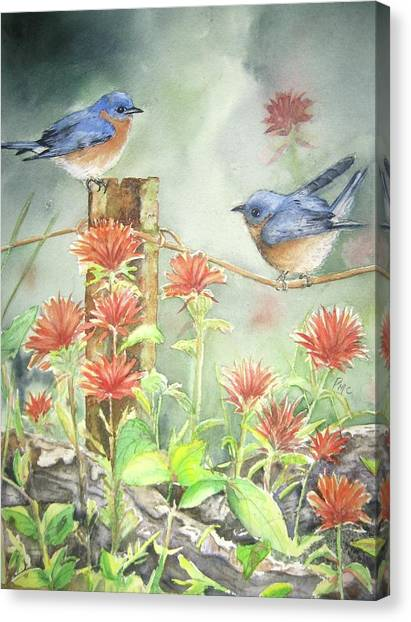 Bluebirds Canvas Print - Bluebirds And Indian Paintbrush by Patricia Pushaw
