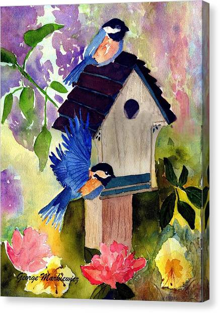 Bluebirds Nesting Canvas Print by George Markiewicz
