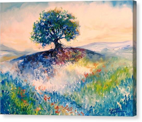 Bluebonnet Hill Canvas Print by Marcia Baldwin