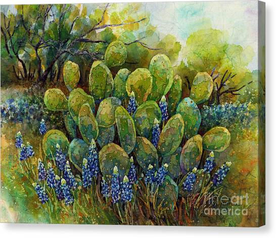 Bluebonnets And Cactus 2 Canvas Print