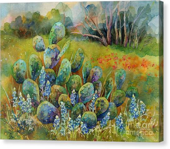 Spring Trees Canvas Print - Bluebonnets And Cactus by Hailey E Herrera