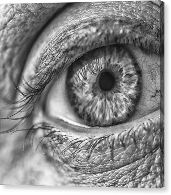 Head Canvas Print - #blueeyes #blue #eyes #pupil #cornea by David Haskett II