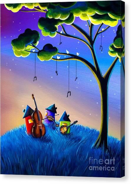 Banjos Canvas Print - Bluegrass Nights by Cindy Thornton