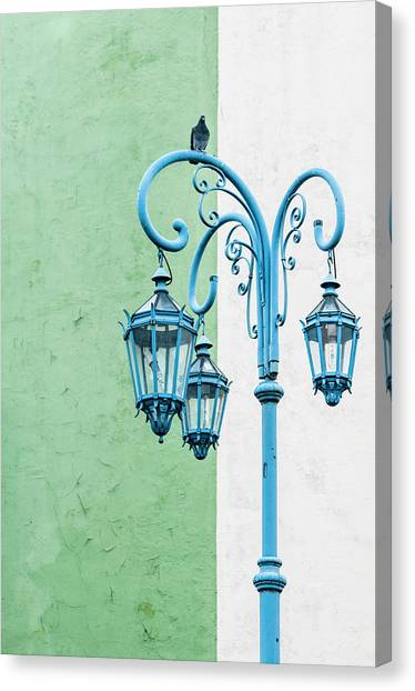 Blue,green And White Canvas Print