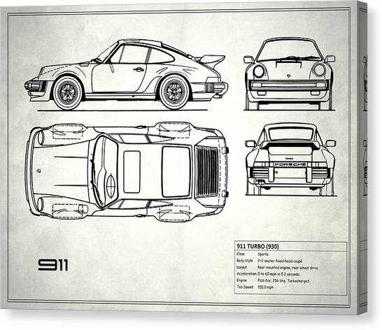 Car blueprint canvas prints page 5 of 25 fine art america car blueprint canvas print blueprint 911 turbo by mark rogan malvernweather Gallery