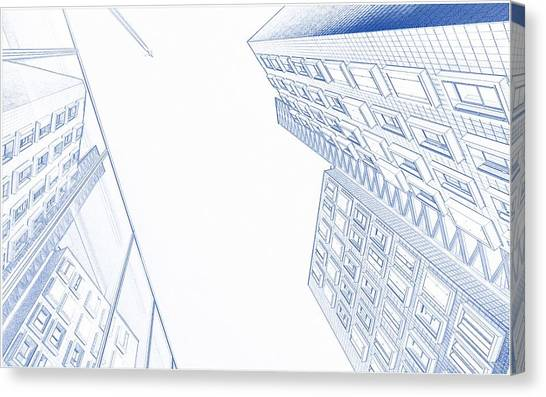 Engineering drawing canvas prints page 9 of 26 fine art america engineering drawing canvas print blueprint drawing of downtown buildings by celestial images malvernweather Choice Image
