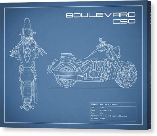 Suzuki Canvas Print - Blueprint Of A Boulevard C50 Motorcycle by Mark Rogan