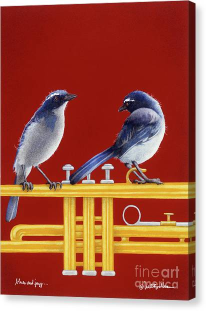 Bluejays Canvas Print - blues and Jazz... by Will Bullas