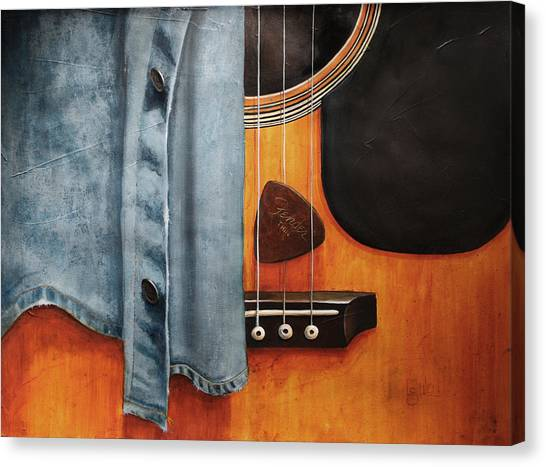 Guitar Picks Canvas Print - Blues by Lorraine Ulen