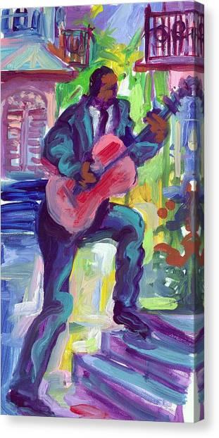 Blues Man On Steps Canvas Print by Saundra Bolen Samuel