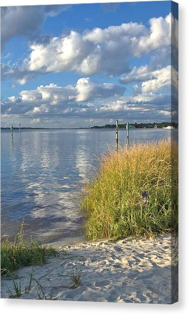 Blues Skies Of The Cape Fear River Canvas Print