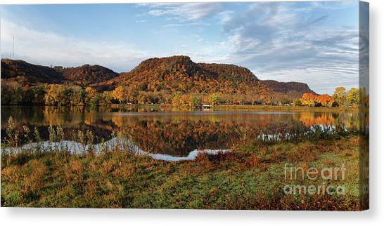 Canvas Print featuring the photograph Bluff Reflection And Shoreline Agree In Winona Minnesota by Kari Yearous