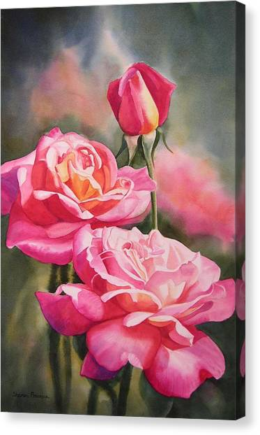 Red Roses Canvas Print - Blushing Roses With Bud by Sharon Freeman