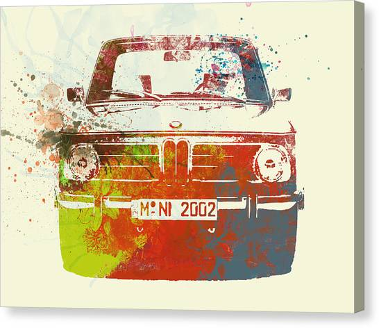 Classic Car Canvas Print - Bmw 2002 Front Watercolor 2 by Naxart Studio