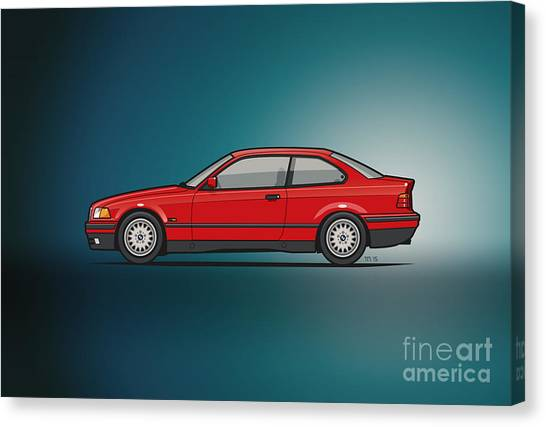 Planet Canvas Print - Bmw 3 Series E36 Coupe Red by Monkey Crisis On Mars