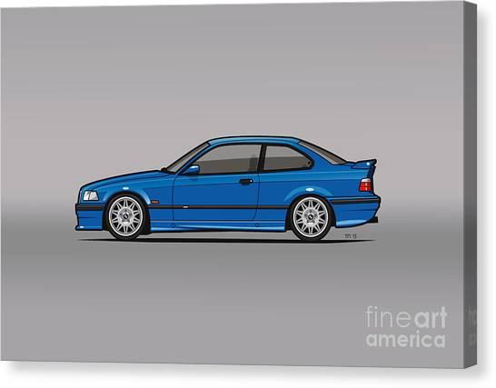 Stock Cars Canvas Print - Bmw 3 Series E36 M3 Coupe Estoril Blue by Monkey Crisis On Mars