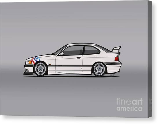 Stock Cars Canvas Print - Bmw 3 Series E36 M3 Coupe Lightweight White With Checkered Flag by Monkey Chrisis On Mars