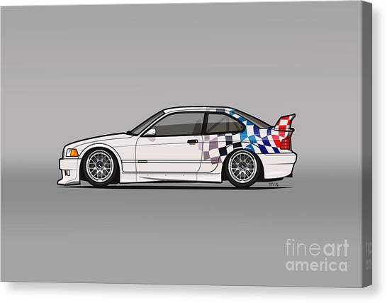 Touring Canvas Print - Bmw 3 Series E36 M3 Gtr Coupe Touring Car by Tom Mayer