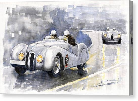 Bmw Canvas Print - Bmw 328 Roadster by Yuriy Shevchuk