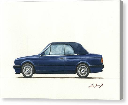 Bmw Canvas Print - Bmw E30 Cabrio by Juan Bosco