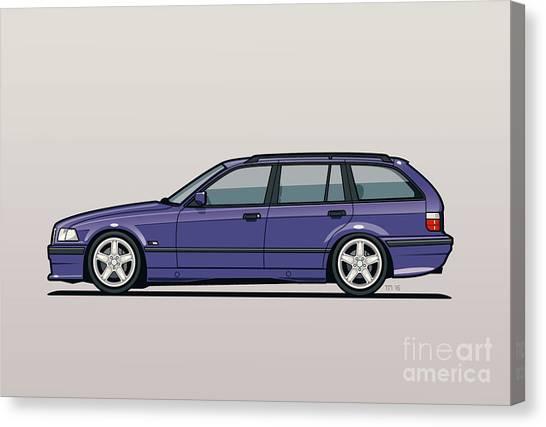 Stock Cars Canvas Print - Bmw E36 328i 3-series Touring Wagon Techno Violet by Monkey Crisis On Mars