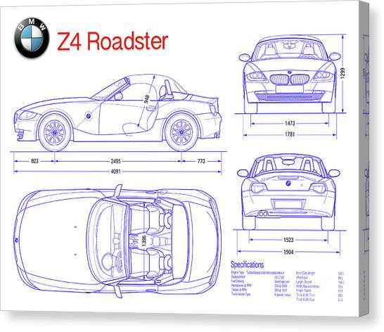 Car blueprint canvas prints page 4 of 25 fine art america car blueprint canvas print bmw z4 blueprint by jon neidert malvernweather Gallery