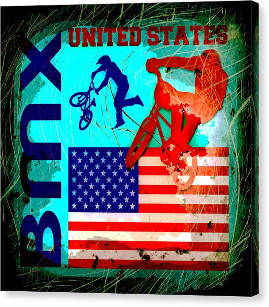 Motocross Canvas Print - Bmx United States by David G Paul