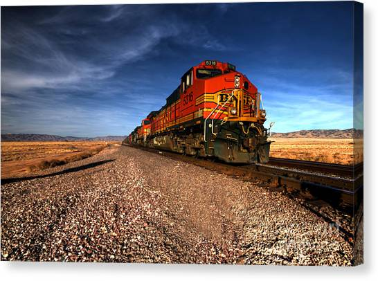 Trains Canvas Print - Bnsf Freight  by Rob Hawkins