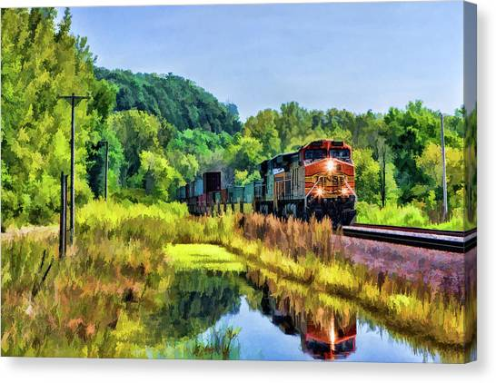 Freight Trains Canvas Print - Bnsf Scenic Freight Train by Christopher Arndt