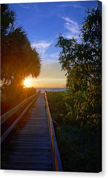 Sunset At The End Of The Boardwalk Canvas Print