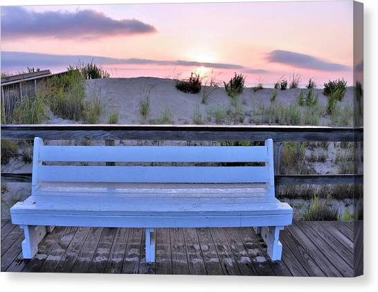Canvas Print featuring the photograph A Welcome Invitation -  The Boardwalk Bench by Kim Bemis