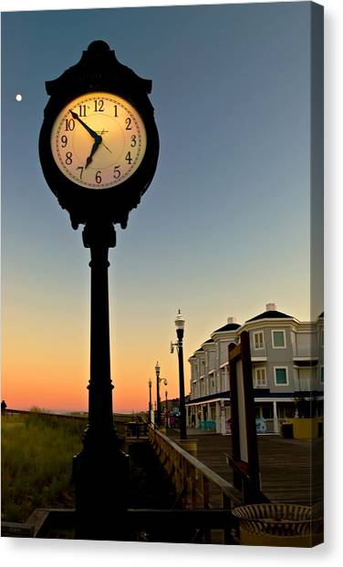 Boardwalk Clock With Rising Moon. Bethany Beach. Canvas Print