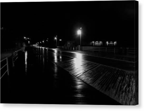 Boardwalk In The Still Of The Night Canvas Print