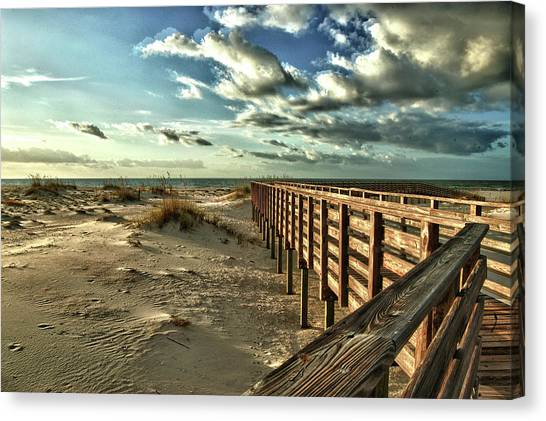 Boardwalk On The Beach Canvas Print