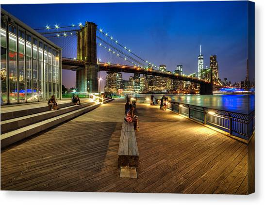 Boardwalk View At Brooklyn Bridge Park Canvas Print by Daniel Portalatin