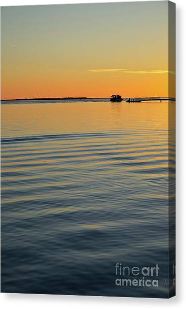 Boat And Dock At Dusk Canvas Print