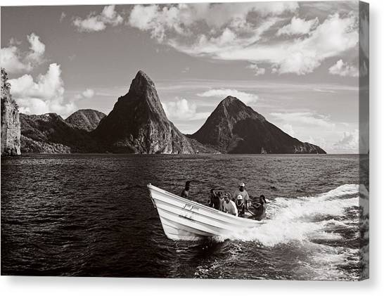 Boat And Pitons-st Lucia Canvas Print