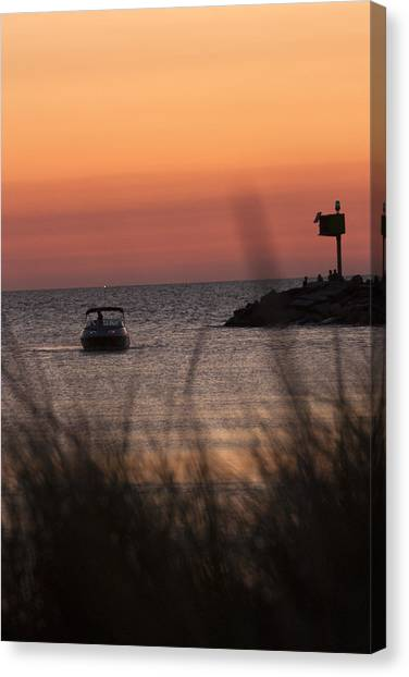 Boat Arriving At New Buffalo Harbor Canvas Print by Christopher Purcell