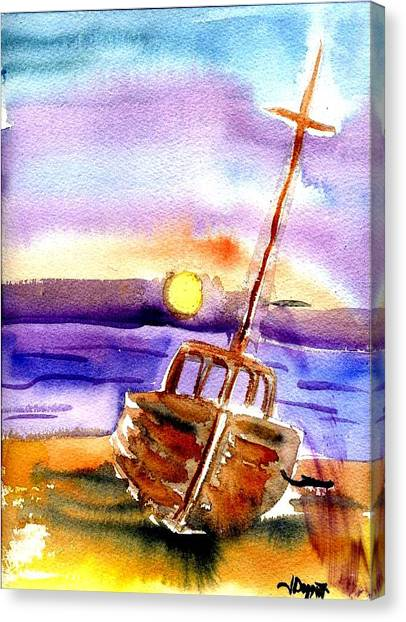 Boat Ashore Canvas Print by Janet Doggett