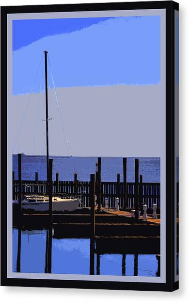 Boat  Dock  In  Blue Canvas Print by Linwood Branham
