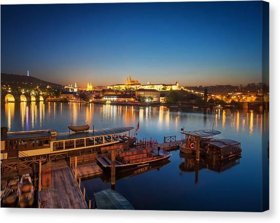 Boat Dock Near St. Vitus Cathedral, Prague, Czech Republic. Canvas Print