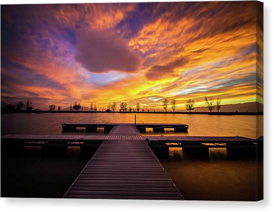 Boat Dock Sunset Canvas Print